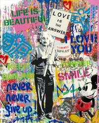 Einstein by Mr. Brainwash - Original on Canvas sized 16x20 inches. Available from Whitewall Galleries